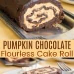 Pumpkin Chocolate Flourless Cake Roll Pinterest Collage