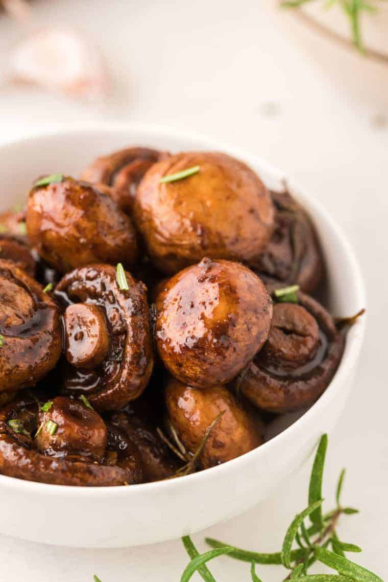 A bowl of Balsamic Roasted Mushrooms with Rosemary