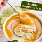 Thai Curry Butternut Squash Soup with text boxes for recipe Features
