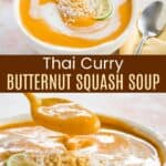 Thai Curry Butternut Squash Soup Pinterest Collage