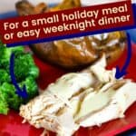 "BBQ Rubbed Crockpot Turkey Breast Pin with Text ""for a small holiday meal or easy weeknight dinner"""