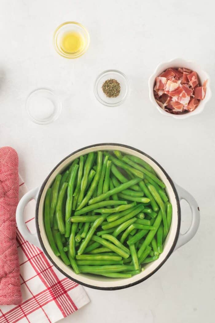 Green beans being boiled in a pot