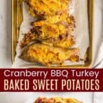 Cranberry BBQ Turkey Baked Sweet Potatoes Pinterest Collage
