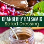 Cranberry Balsamic Salad Dressing Pinterest Collage