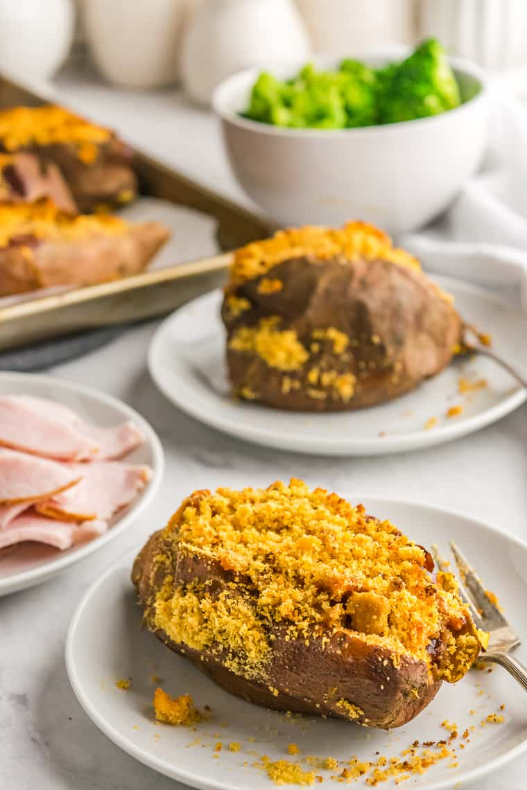 Barbecue Turkey Stuffed Sweet Potato on a white plate