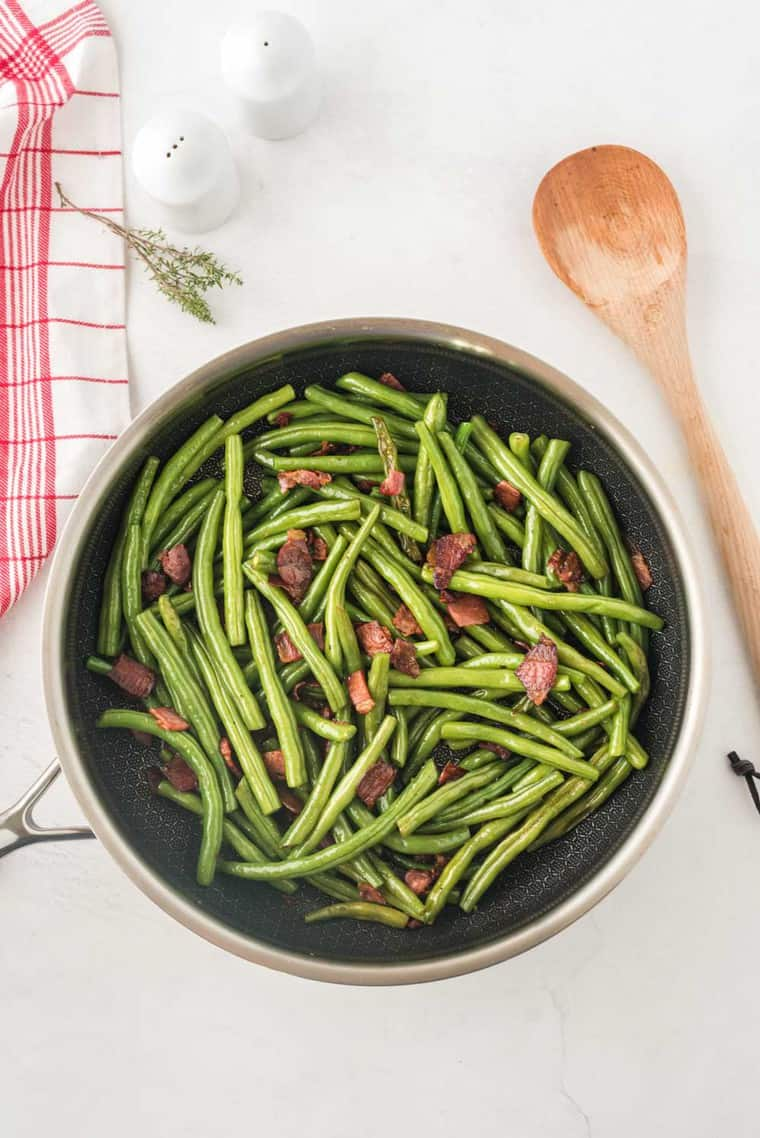 Sauteed Green Beans with Bacon in a skillet