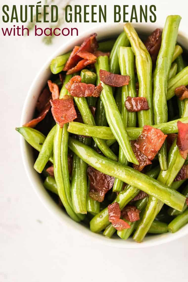 Sauteed Green Beans with Bacon Recipe image with title