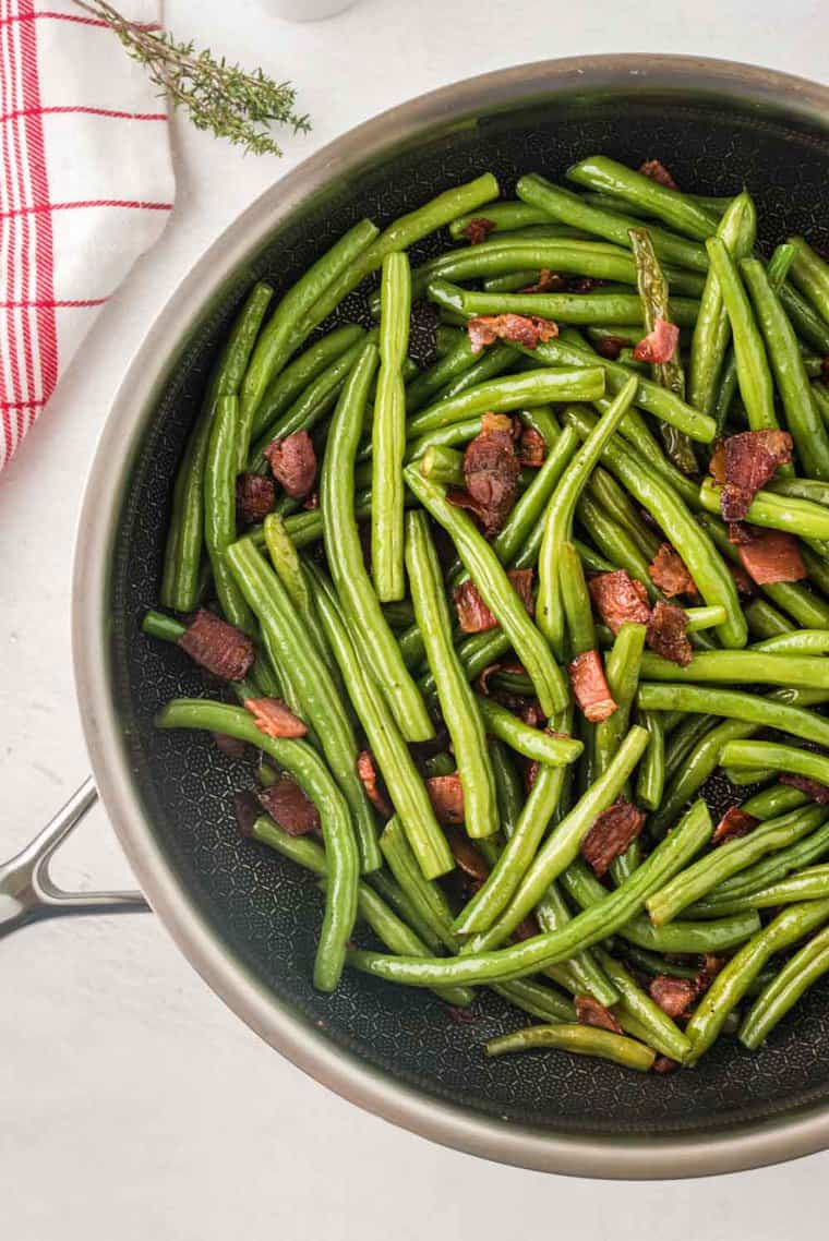 Sauteed Green Beans and Bacon in a Skillet