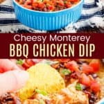 Blue round dish of Monterey Chicken Dip and fingers holding a chip scooping dip