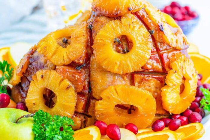 Pineapple Rings covering the outside of a baked ham