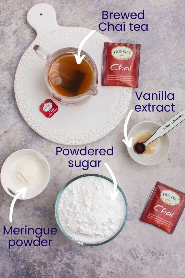 Ingredients to make Chai royal icing on a tabletop