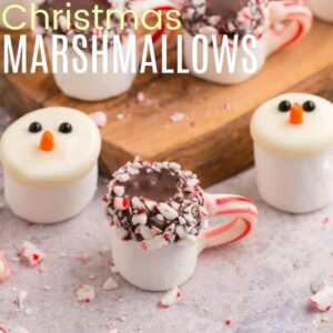 Two snowman marshmallows and one hot cocoa marshmallow