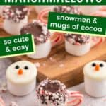 Display of cocoa mug and snowman marshmallows