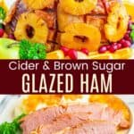 Whole baked ham and ham slices in a collage