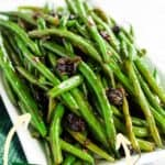 Cranberry Balsamic Green Beans on a white dish