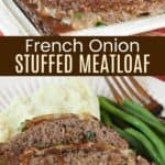 Whole meatloaf and slices of meatloaf stuffed with onions