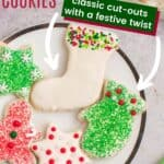 A plate of decorated gluten free cut out cookies