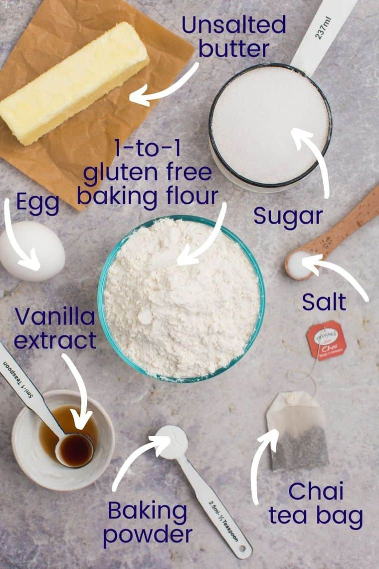 Ingredients to make gluten free chai cookies on a tabletop