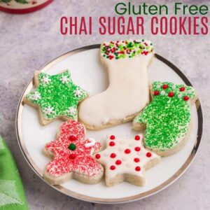 Small white plate with gluten free Chai sugar cookies