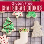 A rectangular platter of gluten free chai cookies and decorated cookies on a cooling rack