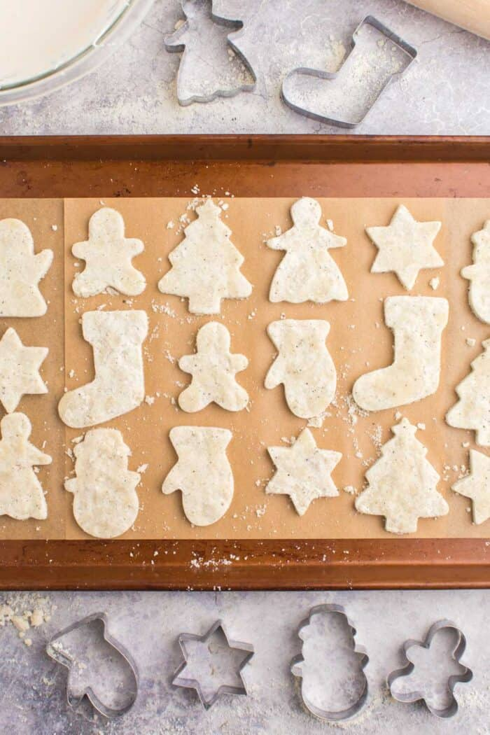 Gluten Free Cut Out Cookies on a parchment-lined baking sheet