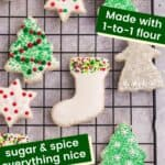 Decorated sugar cookies on a cooling rack