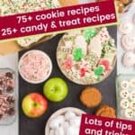 Cookies and candies and other items assembled to place on a slate platter