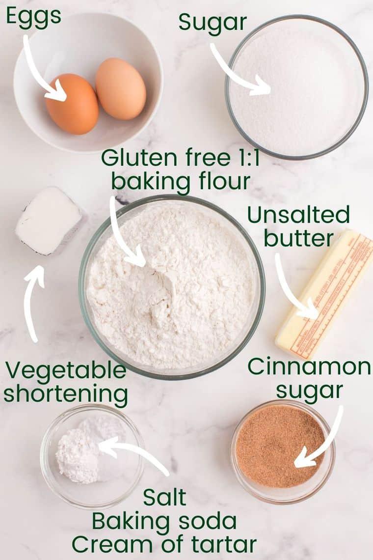 Ingredients to make gluten free snickerdoodles