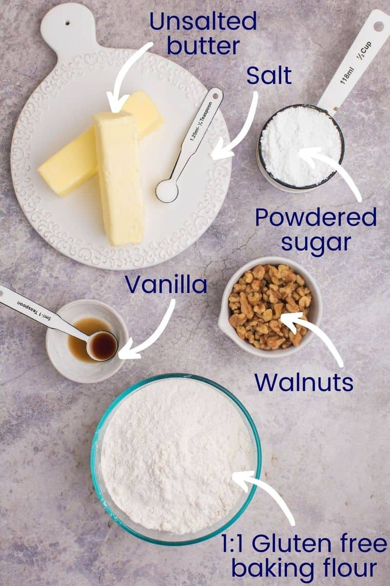 Ingredients used in the gluten free snowball cookies recipe