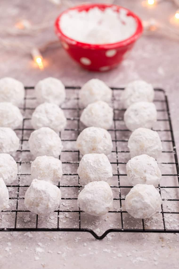 Gluten Free Snowball Cookies on a cooling rack