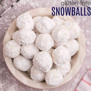 Serving bowl of gluten free snowball cookies