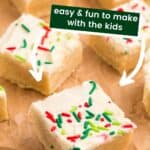 Frosted Gluten Free Sugar Cookie Bar with red and green sprinkles