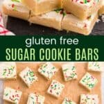 Gluten Free Sugar Cookie bars on a slate platter and spread out on parchment paper