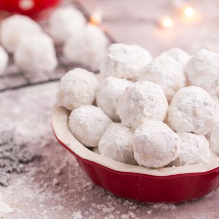 Red bowl of Gluten Free Snowballs