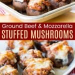 Bolognese Stuffed Mushrooms on a baking sheet and in a white serving dish