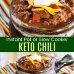 Low carb chili in brown ceramic crocks