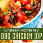 Dipping a chip into a hot dip and the round baking dish of BBQ chicken dip