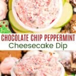 Small bowl of candy cane cheesecake dip from overhead and from the side