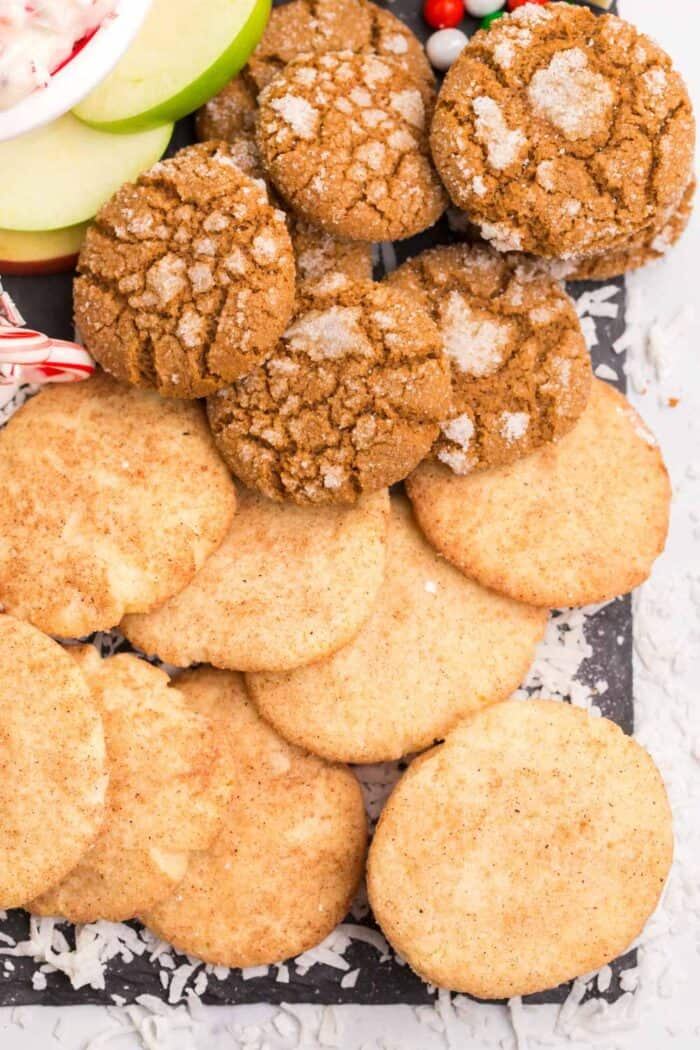 Gluten Free Snickerdoodles and gingersnaps on a slate platter