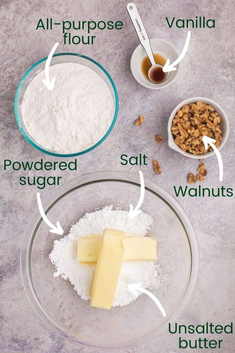 Ingredients to make snowball cookies