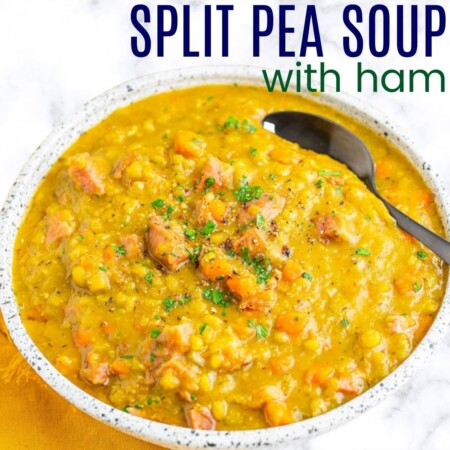 bowl of pea soup with a spoon in it