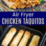 Chicken Taquitos in an air fryer and piled on a blue plate
