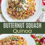 Quinoa with roasted butternut squash cubes and pomegranate seeds