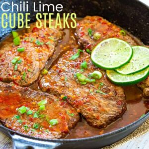 Chili Lime Cube Steaks in a cast iron skillet
