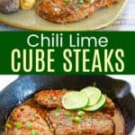 Chili Lime Cube Steaks in a cast iron pan and on a plate with potatoes and vegetables