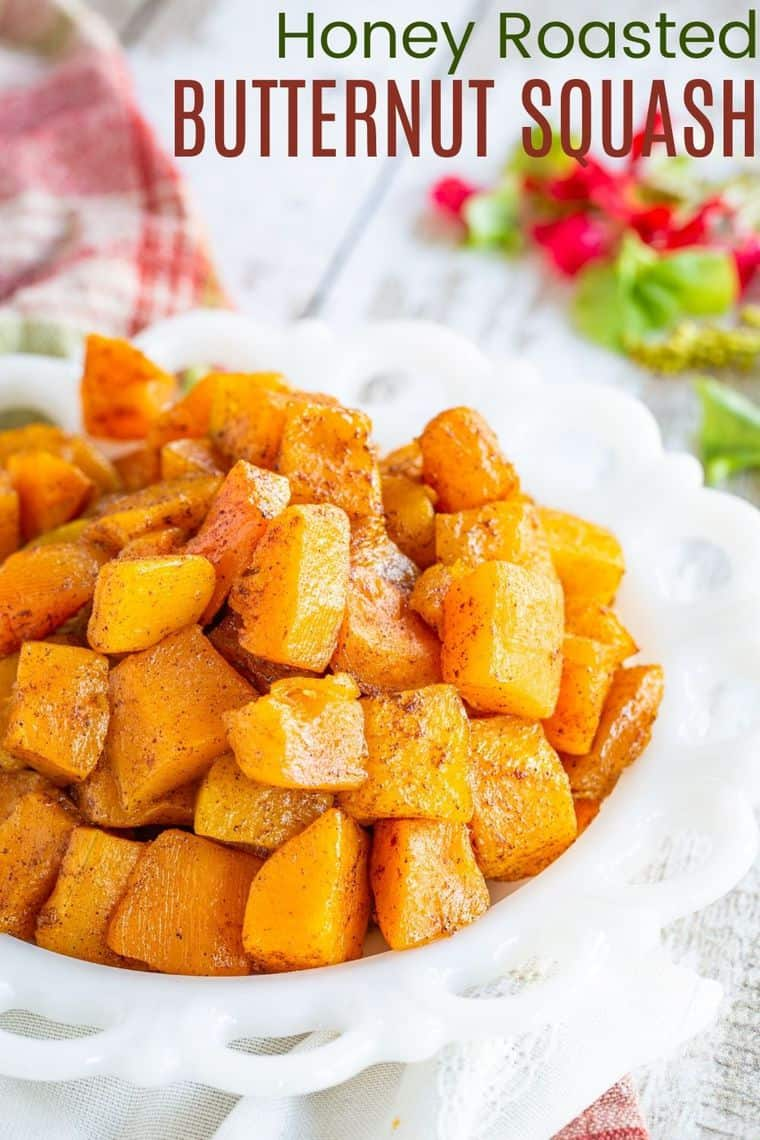 honey roasted butternut squash on a white serving dish