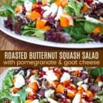Salad with butternut squash piled on a plate and topped with pomegranate, goat cheese, and salad dressing