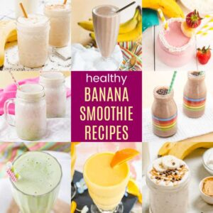 different banana smoothie recipes in glasses
