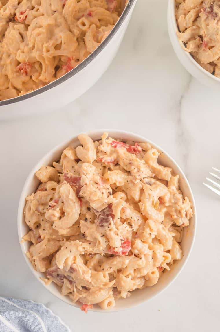 bowl of finished mac and cheese sprinkled with pepper