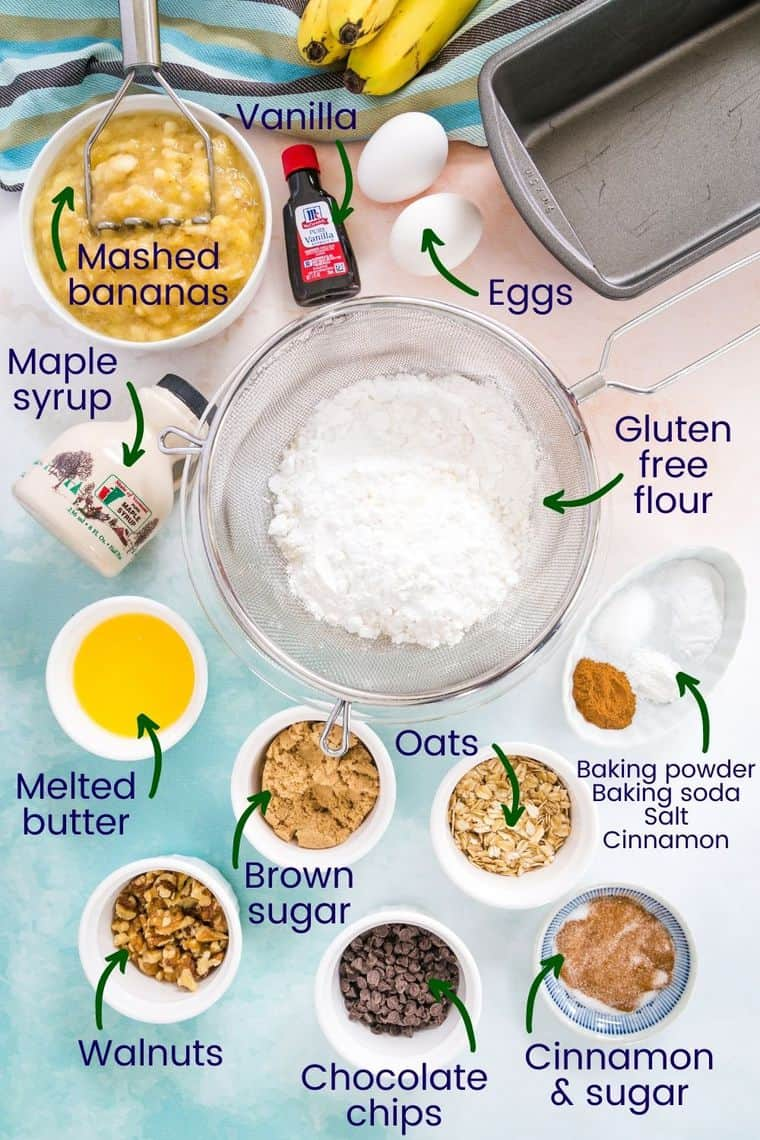 Ingredients for making gluten free banana bread in bowls on a table